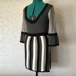 Coupe Collection Black and Grey Tunic Sweater